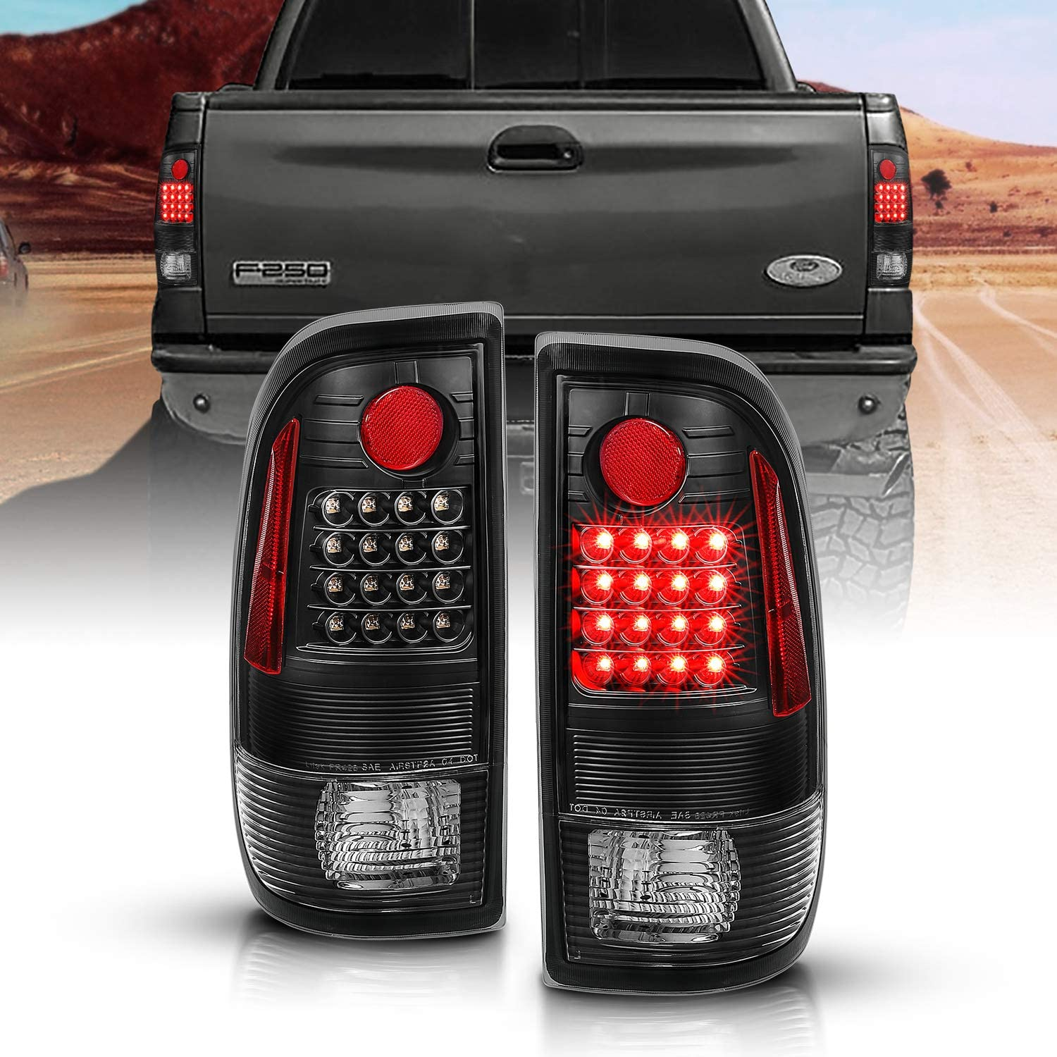 1999-2007 Ford F-250 F-350 Super Duty Pickup Truck AUTOSAVER88 Taillights Compatible with 1997-2003 Ford F150 Fits Styleside Models ONLY Black Smoke Driver and Passenger Side Tail Lights