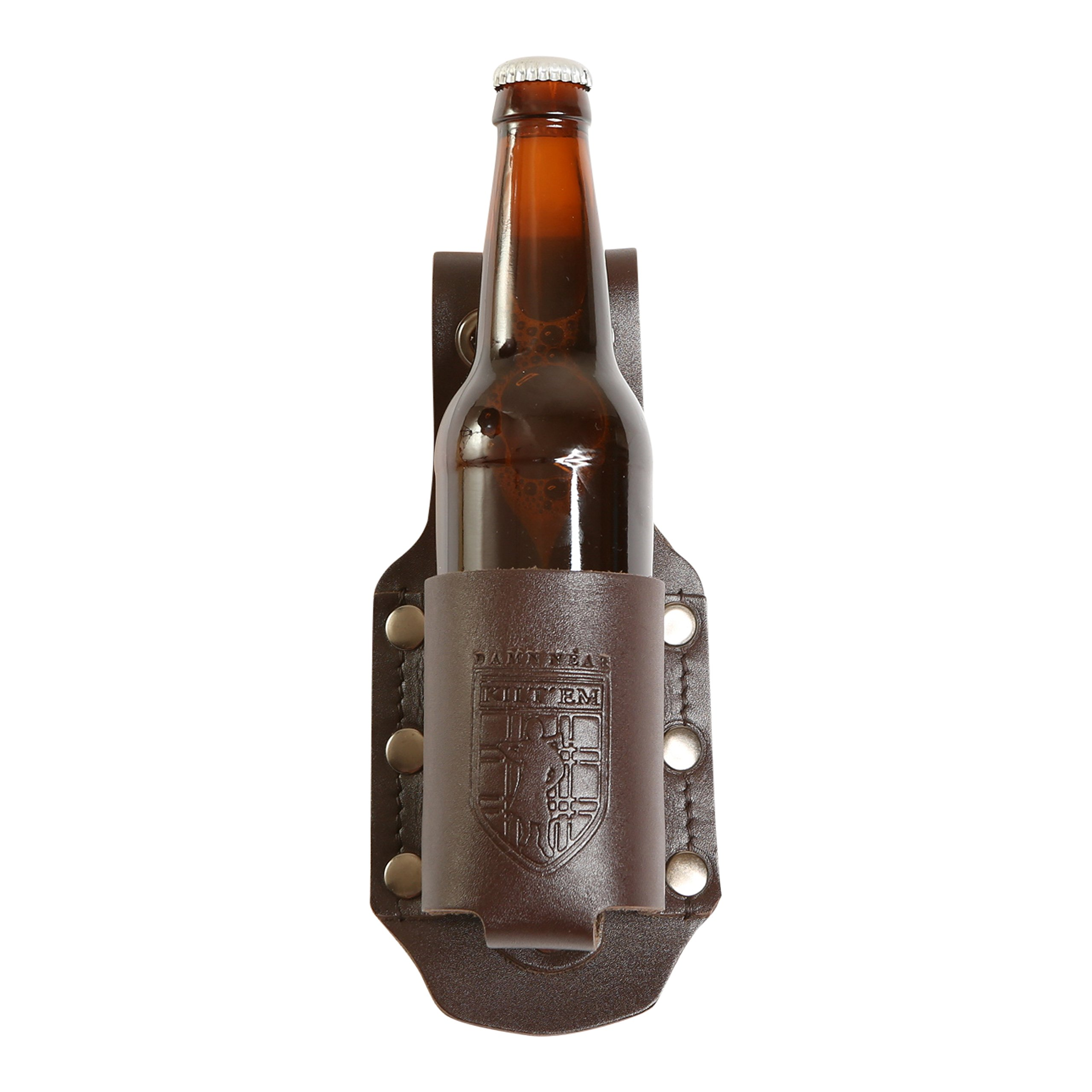 Damn Near Kilt 'Em Premium Brown Leather Bottle Holder Kilt Accessory