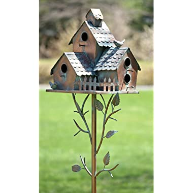 Zaer Ltd. Large Copper Colored Multi-Birdhouse Stakes, Room for 4 Bird Families in Each (Houses Facing Multiple Directions)