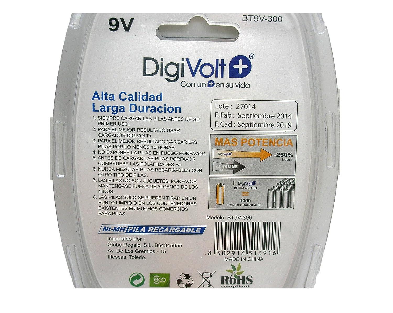 Bateria Pila Recargable de 9v Voltios NiMH Nickel de Larga Duracion 300 mAh 3190: Amazon.es: Electrónica