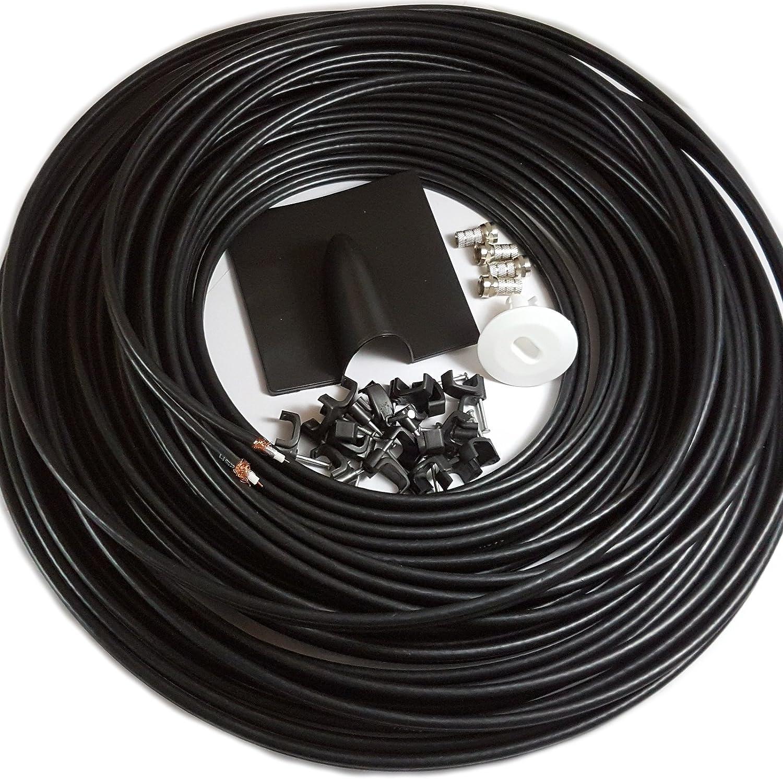 25 m Twin Coaxial Cable Antena parabólica WF65 Fina Instalar Kit – para Sky HD y Freesat Lead – 10 M, 15 m, 20 m Tambor