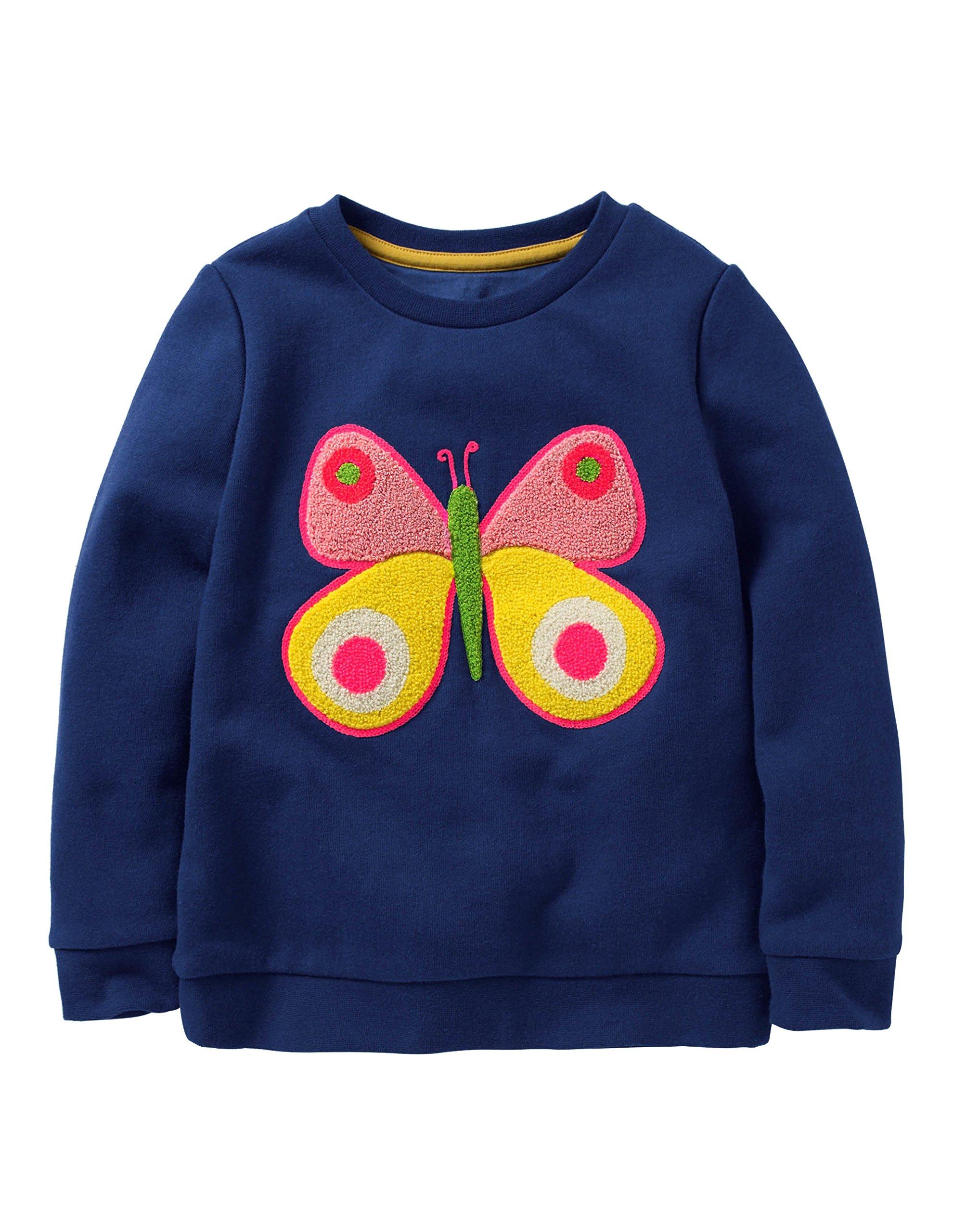 Fiream Girls Cotton Crewneck Cute Embroidery Sweatshirts(120White,4T)