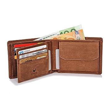 fcafbd50450f37 Donbolso Zürich Geldbörse Leder Herren - Geldbeutel braun - Portemonnaie  für Männer mit RFID Schutz -