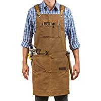 Luxury Waxed Canvas Shop Apron | Heavy Duty Work Apron for Men & Women with Pocket & Cross-Back Straps | Adjustable Tool…
