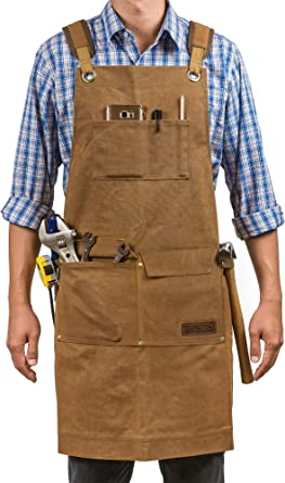 Amazon Com Woodworking Shop Aprons For Men And Women 16 Oz Durable Waxed Canvas Work Apron With Pockets Cross Back Straps Adjustable Tool Apron Up To Xxl Gift For Woodworker
