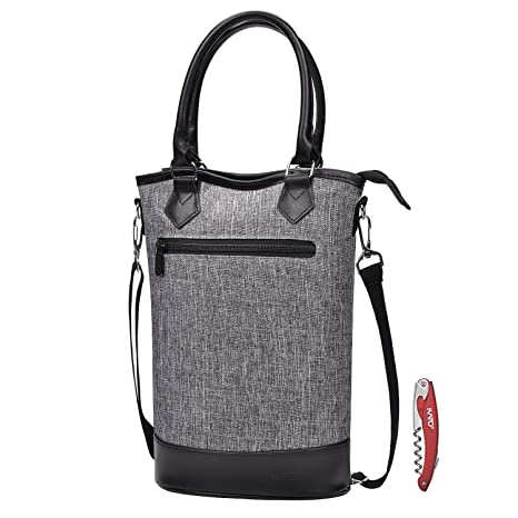 Kato Insulated Wine Tote Bag - Travel Padded 2 Bottle Wine  Champagne  Cooler Carrier with 62799f65e6