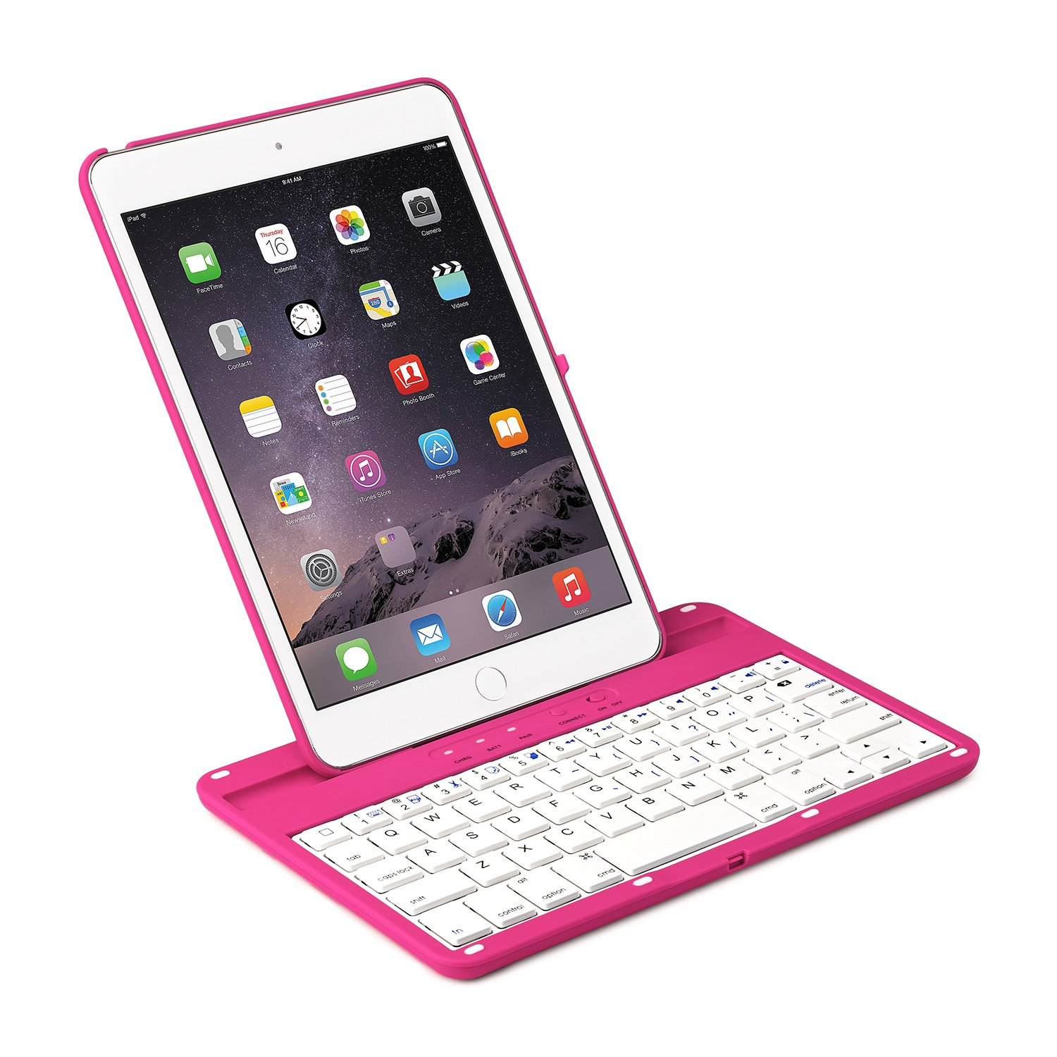 iNNEXT Aluminum 360 Swivel Rotating Stand Case Cover Built-in Bluetooth Keyboard for ipad Mini 1 2 3 with Retina Display (Hot Pink) by iNNEXT (Image #3)