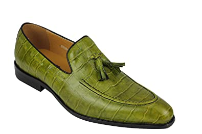 Mens Crocodile Print Shiny Real Leather Tassel Loafers Shoes Vintage Green  Black  UK 7 EU