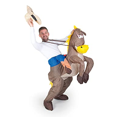 22948609d1d48 Amazon.com  Halloween Inflatable Cowboy Outfit - Horse Fancy Dress Costume  - Stag Night Party  Clothing