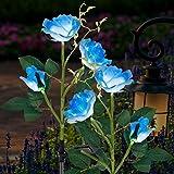 FORUP 2 Pack Solar Garden Stake Lights, Outdoor Solar Rose Flower Lights with 6 Rose Flowers, LED Rose Solar Powered Lights f