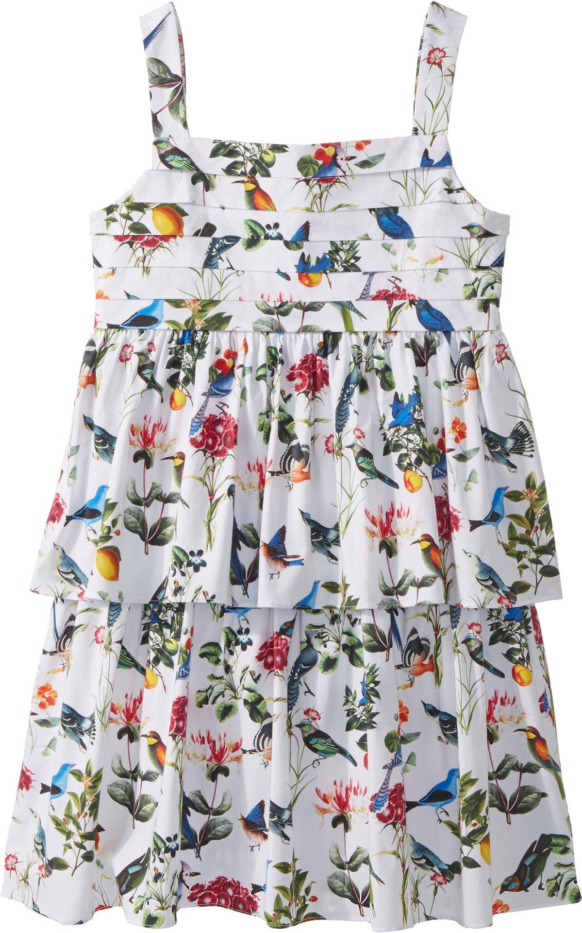 Oscar de la Renta Childrenswear Baby Girl's Cotton Botanical Birds Pleated Dress (Toddler/Little Kids/Big Kids) White Multi 12