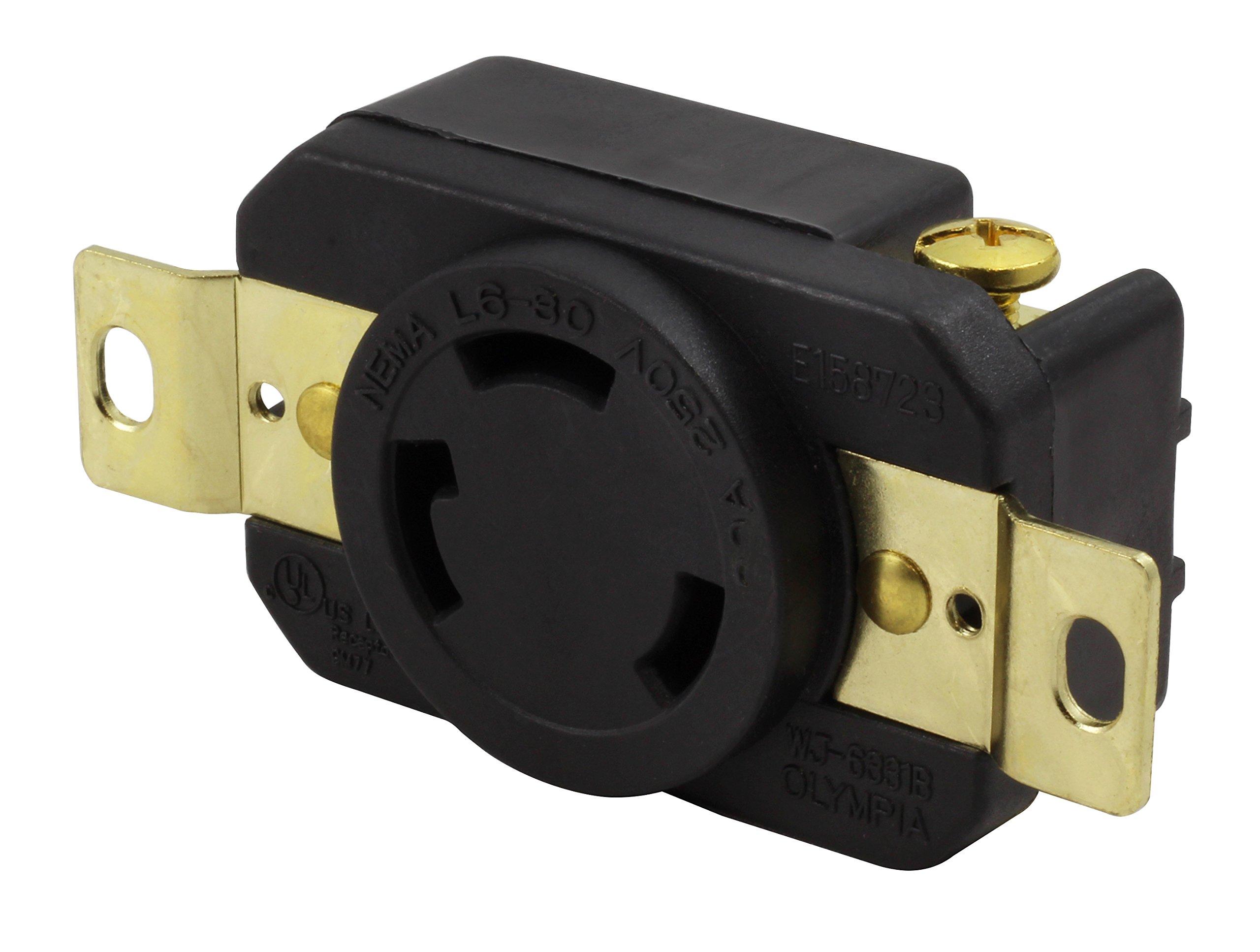 AC WORKS [FML630R] 30-Amp, 250-Volt, NEMA L6-30R Flush Mounting Locking Industrial Grade Receptacle