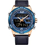 NAVIFORCE 9128 Blue Analogue & Digital Leather Strap Watch for Men