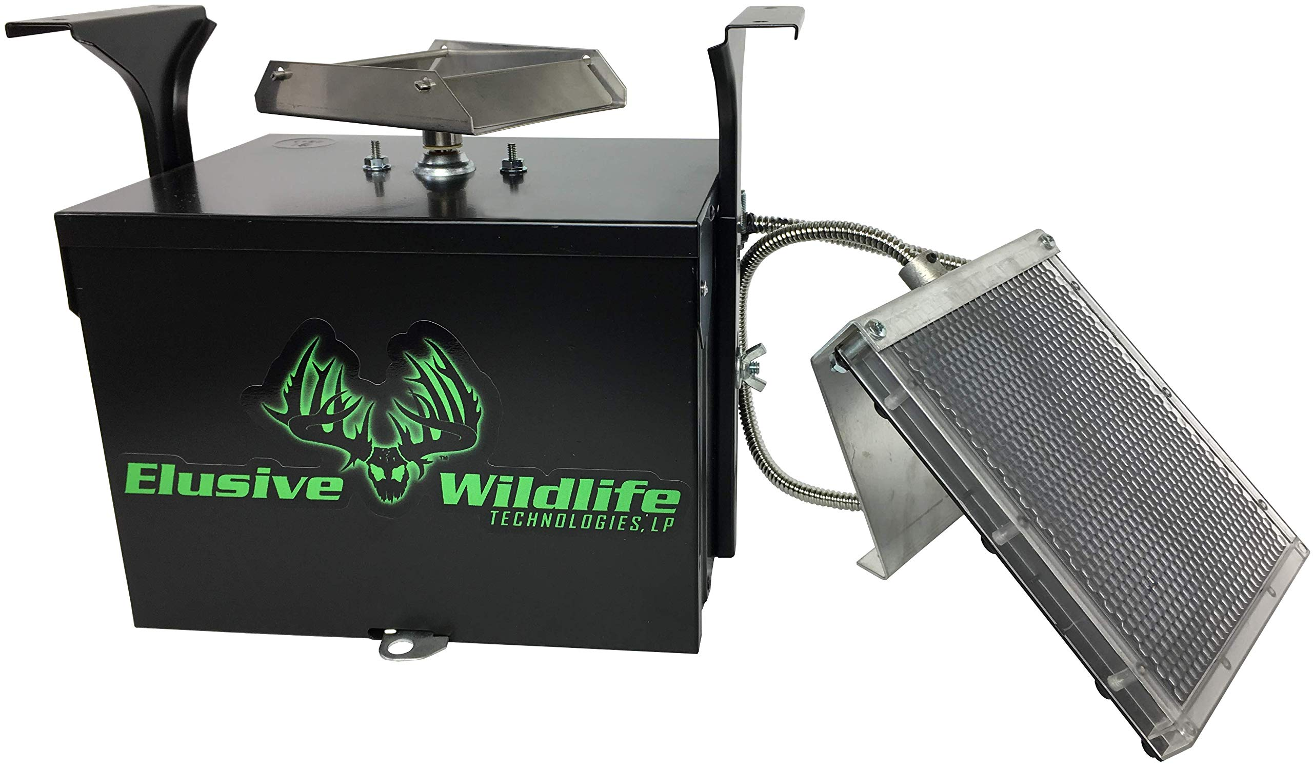 Elusive Wildlife Premium 12 Volt Feeder Control Box with The Timer and Cabled Solar Panel (Black)