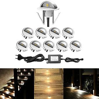 Qaca Encastrables Eclairage Pour Terrasse Escalier Pour Eclairage Exterieur L Escalier Patio Piscine Paysage Dc 12v Etanche Ip65 Pack 10 Blanc