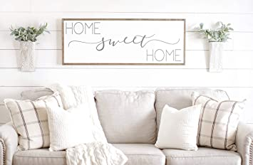 Bruyu5se Framed Wood Sign Rustic Wooden Sign Sign Home Sweet Home Sign Above Couch Sign Above Couch Decor Home Sweet Home Wood Sign Family Room Wall