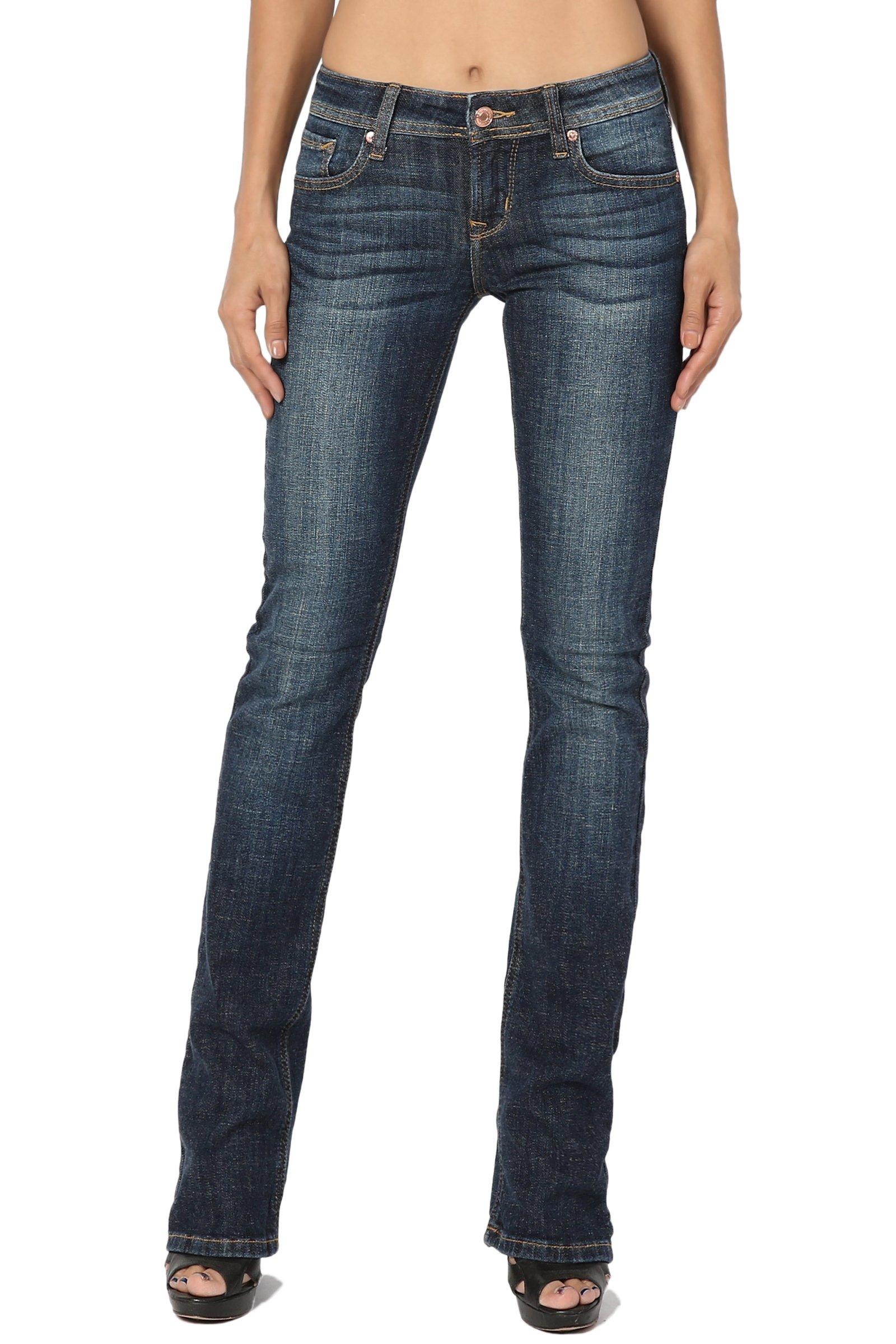 TheMogan Women's Mid Rise Slim Fit Bootcut Jeans in Soft Dark Blue Denim Dark 11