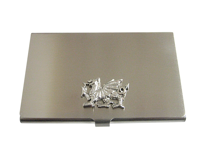 Kiola Designs Silver Toned Textured Welsh Dragon Business Card Holder