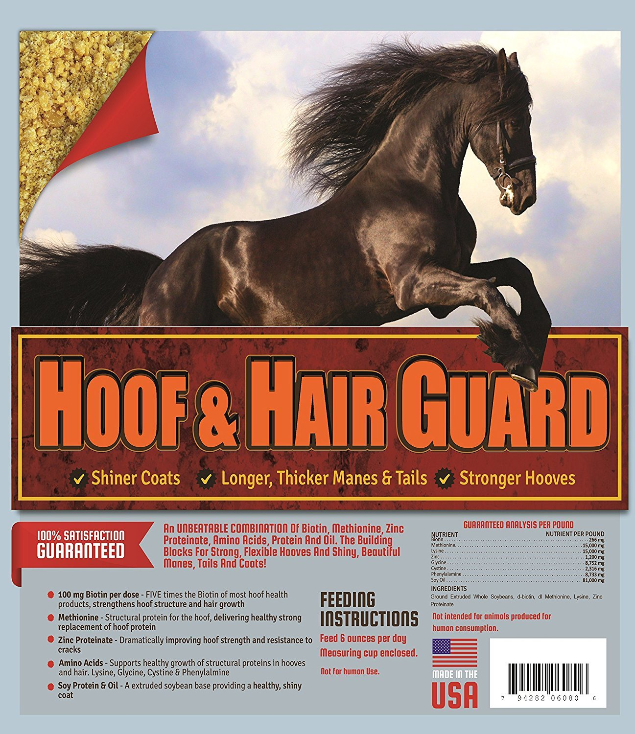 Horse Guard HOOF & HAIR GUARD EQUINE HOOF SUPPLEMENT AND EQUINE COAT SUPPLEMENT WITH AMINO ACIDS, BIOTIN, METHIONINE & SOY OIL, 10 lb by Horse Guard (Image #6)