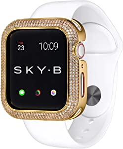SKYB Triple Halo Yellow Gold Protective Jewelry Case for Apple Watch Series 1, 2, 3, 4, 5 Devices - 44mm