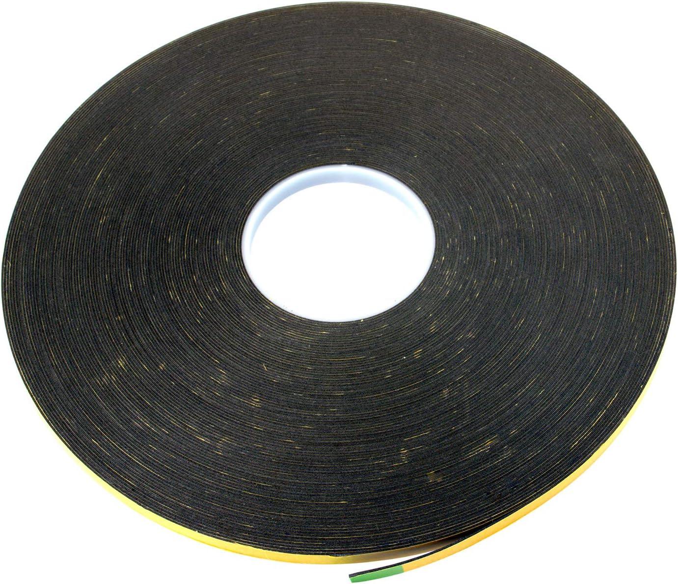 JCP Rouleau de ruban adh/ésif double face en mousse 1 mm x 10 mm x 50 m noir