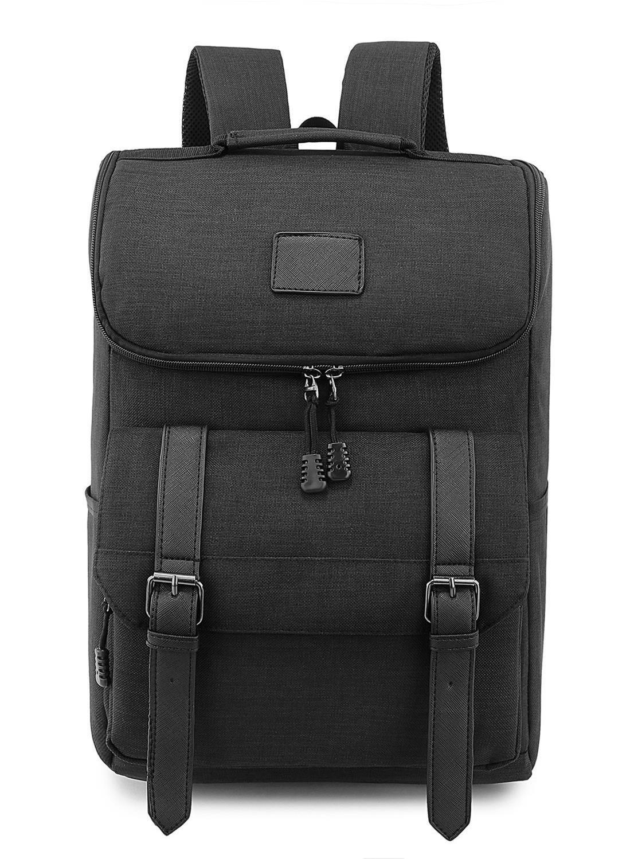 Weekend Shopper Lightweight Canvas Backpack Black Laptop Bookbag College backpack Vintage Backpack Laptop Backpack for Women and Men fit 15.6 Laptops
