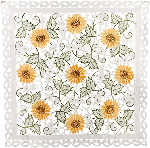 Embroidered Table Topper Doily Table Centerpiece Open Weave Cut Work Sunflower and White Daisy on Ivory 23 Round