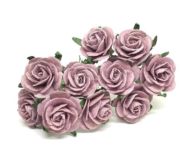 Amazon 1 Mauve Paper Flowers Paper Rose Artificial Flowers