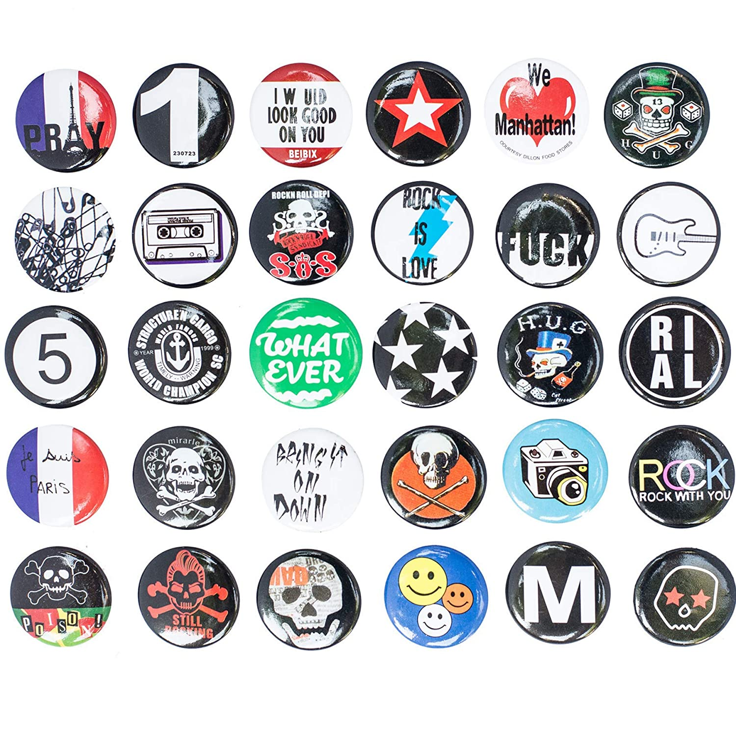 Special100% Huge Wholesale Set of 30Pc Cool Buttons Pins Badges 80's Punk Rock Hardcore Skull Buttons pins Slogans Sayings pin,Lapel pin for Clothes/Bags/Backpack/Hats/Jeans and More... 4336833884