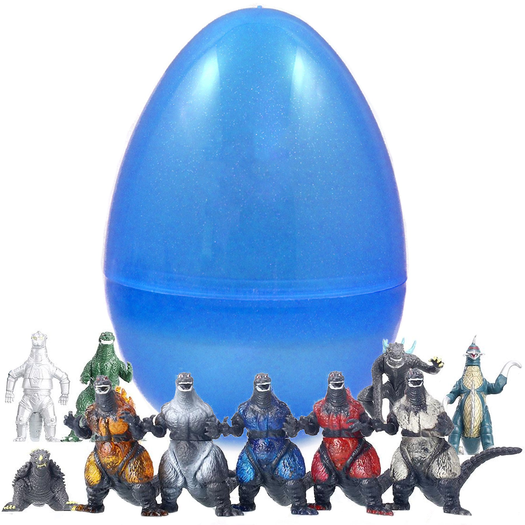 Jumbo 8 Inch Easter Egg With Godzilla Figurines - Save Time With Convenient Pre Filled Easter Eggs - Bright Colors and Durable Designs - Perfect As Kids Party Favors and Easter Basket Stuffers