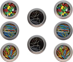 Set of 8 Stationary Filled Magnetic Tins -4 Pack (Push Pins, Paper Clips, Binder Clips) (8 Magnetic Tins)
