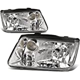 Pair of Chrome Housing Clear Corner Headlights (w/o Fog Lamps) Replacement for VW Jetta MK4 A4 Typ 1J 99-05
