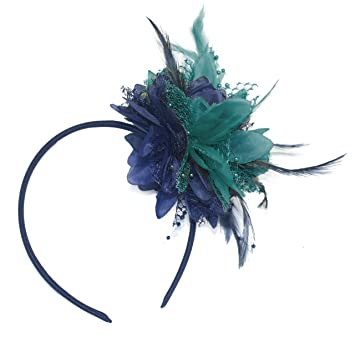 Navy Blue and Turquoise Teal Fascinator on Headband for Ascot Weddings a1dd7b50774