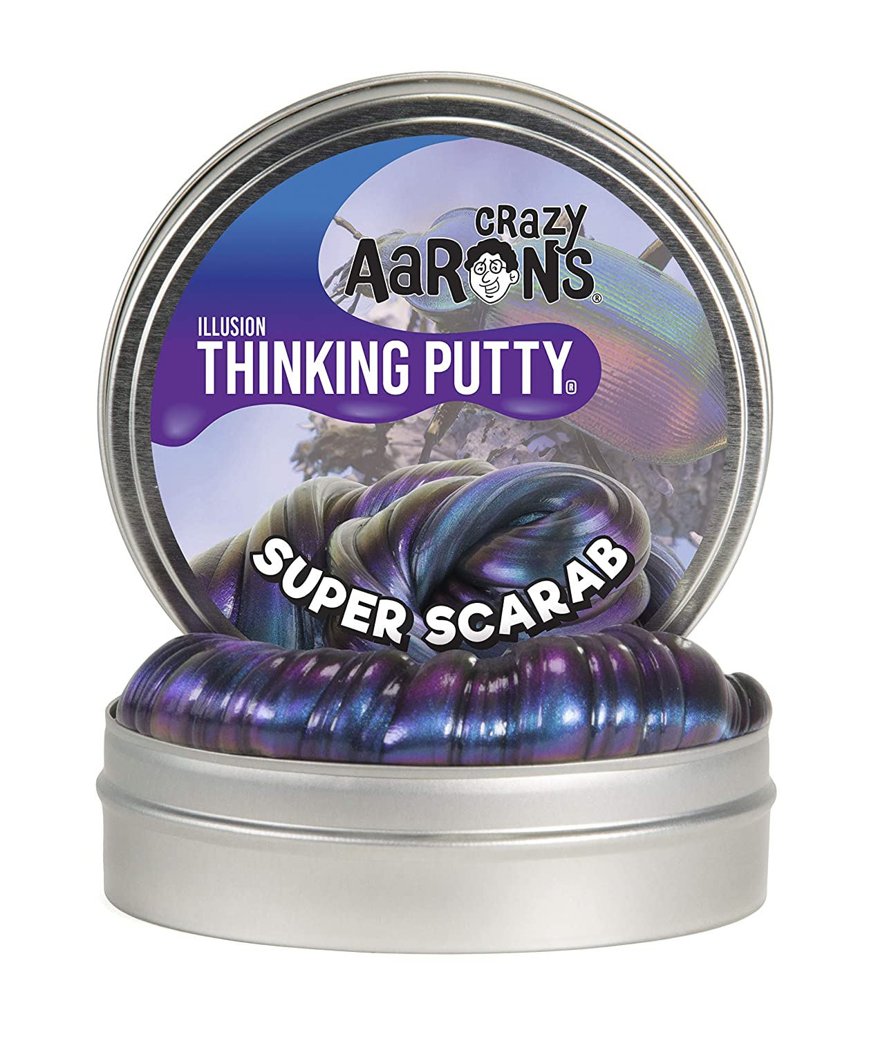 "Crazy Aaron's Thinking Putty 4"" Tin - Super Illusions Super Scarab - Multi-Color Putty, Soft Texture - Never Dries Out"
