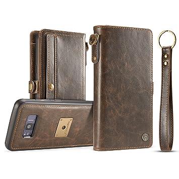 Amazon.com  ZARO Samsung Galaxy S8 Genuine Leather Wallet Case d8de374e8