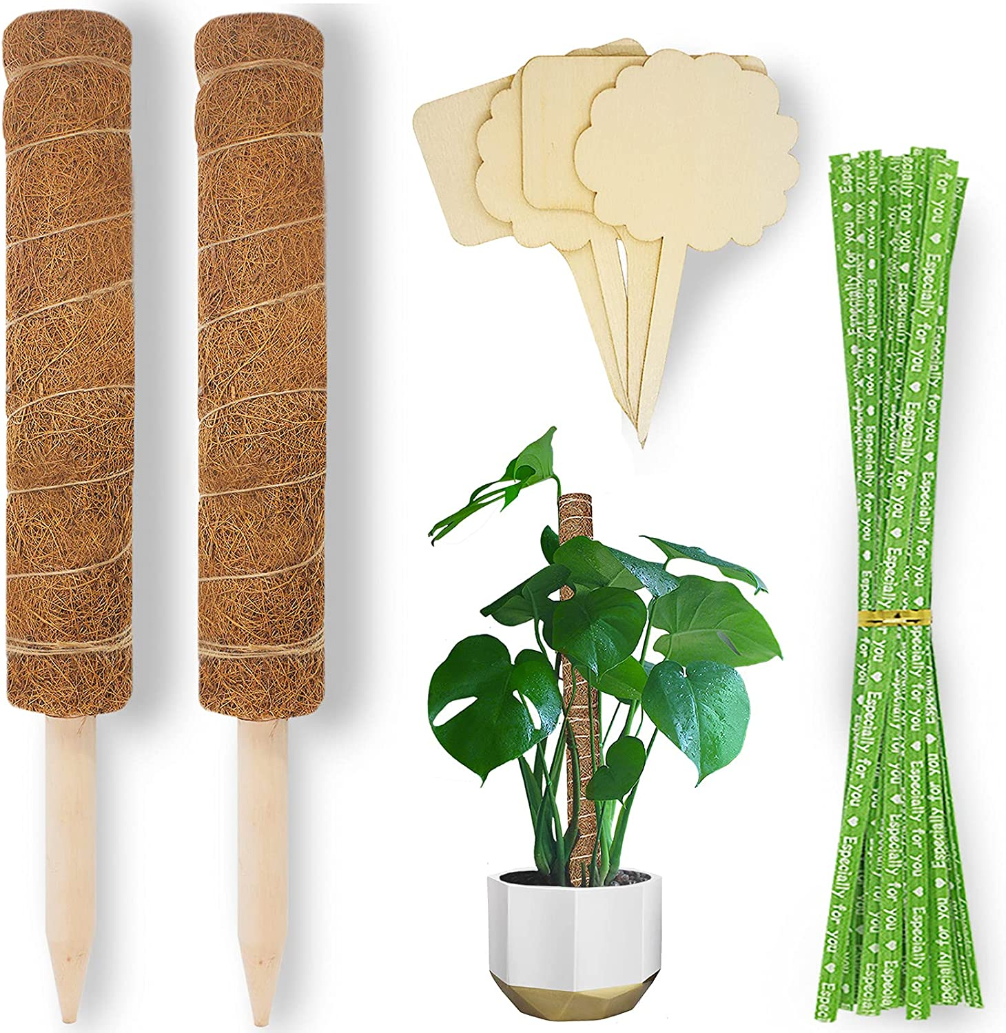 Aimerla Moss Pole Plant Support. 19.8 Inch Moss Sticks for Indoor Plants Climbing. 2 Coir Poles with 45 Twist Ties and 4 Plant Tags Plant Accessories Indoor for Monstera Creeper Pothos Potted Garden