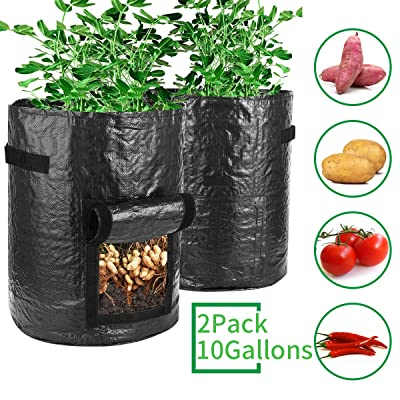 Futone Grow Bags, Potato Planter Bags, Planting PE Aeration Pots with Handles and Flap, Garden Bags for Vegetables, Tomatoes, Carrots, Onions (10 Gallons - 2 Pack - Black) : Garden & Outdoor