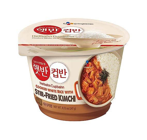 Kim's CJ Cupbahn Cooked White Rice with stir-Fried Kimchi