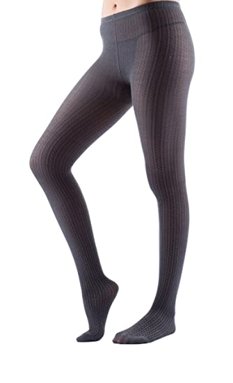 51cdd9fd589cd Luxe Girl Women's Ladies Adult Junior's Cable Knit Sweater Winter Opaque  Warm Thick Tights Fashion Hosiery Stockings Charcoal Small/Medium at Amazon  Women's ...