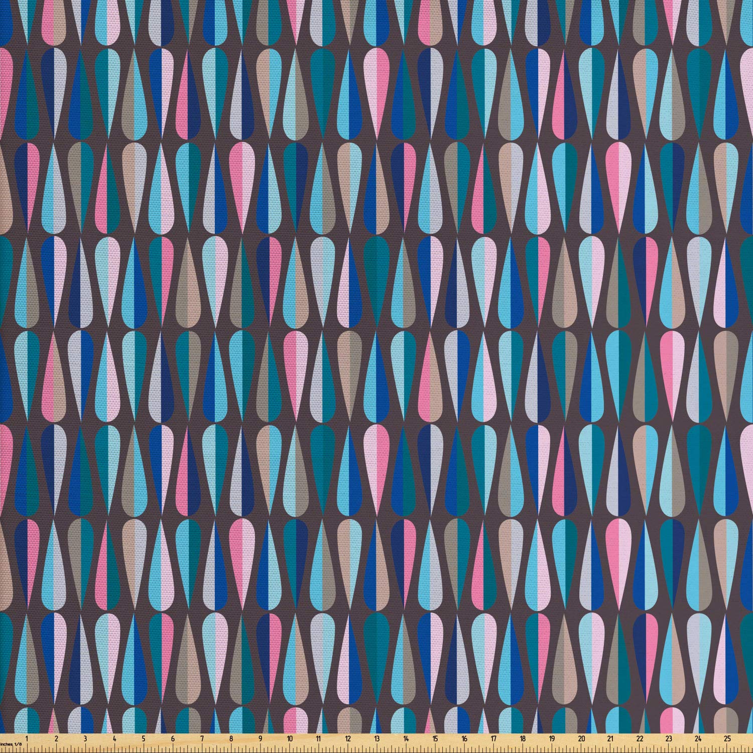 Ambesonne Mid Century Fabric by The Yard, Modern Style Retro Pattern with Droplet Shapes Mosaic in Tones, Decorative Fabric for Upholstery and Home Accents, 2 Yards, Multicolor