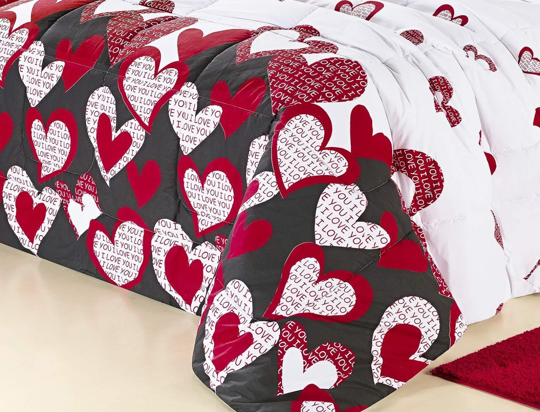 3b9f4893b0 Kit Edredom Casal Queen 5 Peças Desire 100% Algodão 200 Fios Love   Amazon.com.br  Meutravesseiro