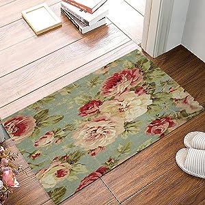 ALAGO Red Roses Flowers Doormats Entrance Front Door Rug Outdoors/Indoor/Bathroom/Kitchen/Bedroom/Entryway Floor Mats,Non-Slip Rubber,Low-Profile (23.6 x 15.7, Pink)