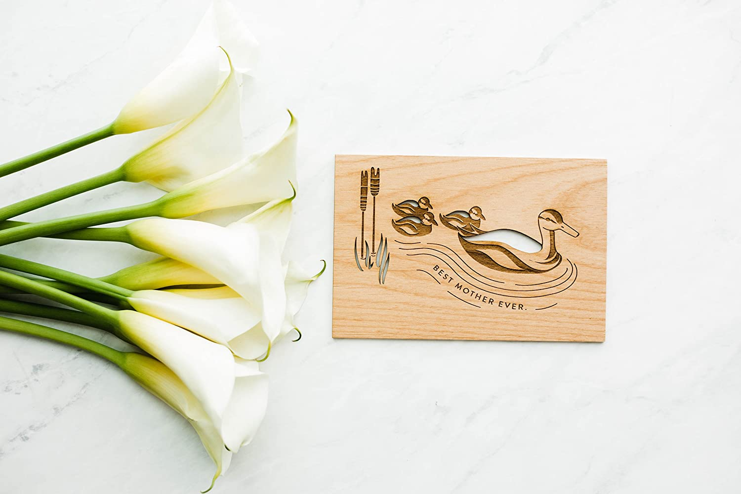 Handlettered//Greeting Card//Personalized Available Mother Duck Laser Cut Wood Mothers Day Card