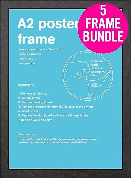 amazon com gb posters 5 black a2 poster frames 42x59 4cm bundle by