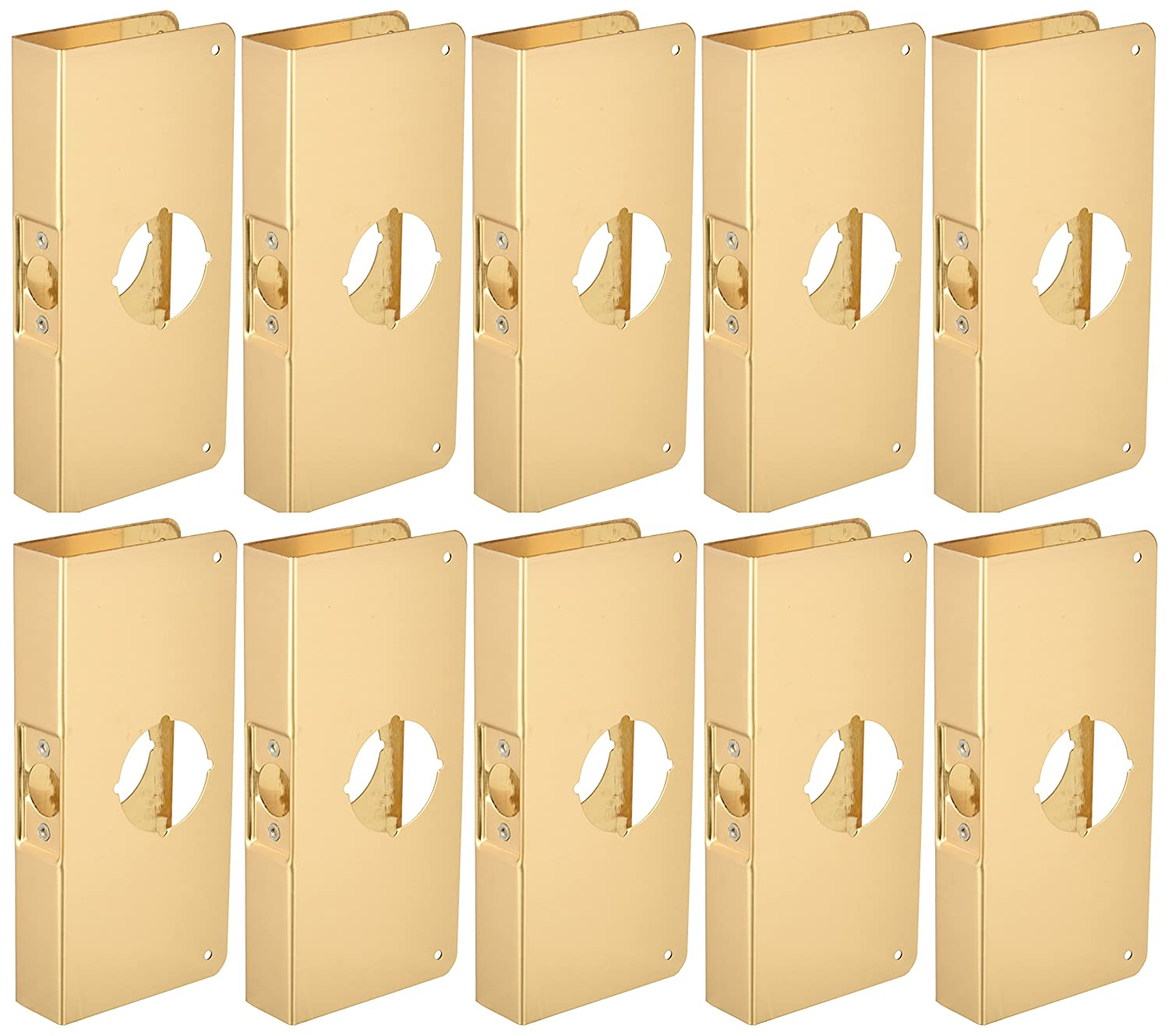 for Cylindrical Door Locks 4 Width x 9 Height Don-Jo 3-CW 22 Gauge Stainless Steel Classic Wrap-Around Plate Pack of 10 Polished Brass Finish