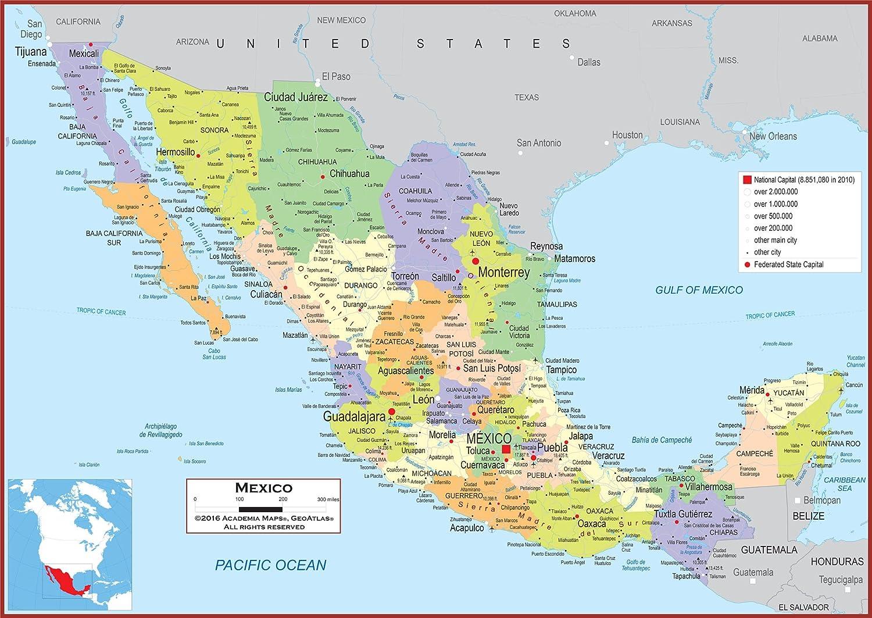 Amazon Com Academia Maps Wall Map Of Mexico Fully Laminated