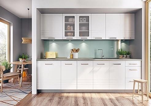 Komplett Küche 260cm PAULA weiss matt / grau matt: Amazon.de ...