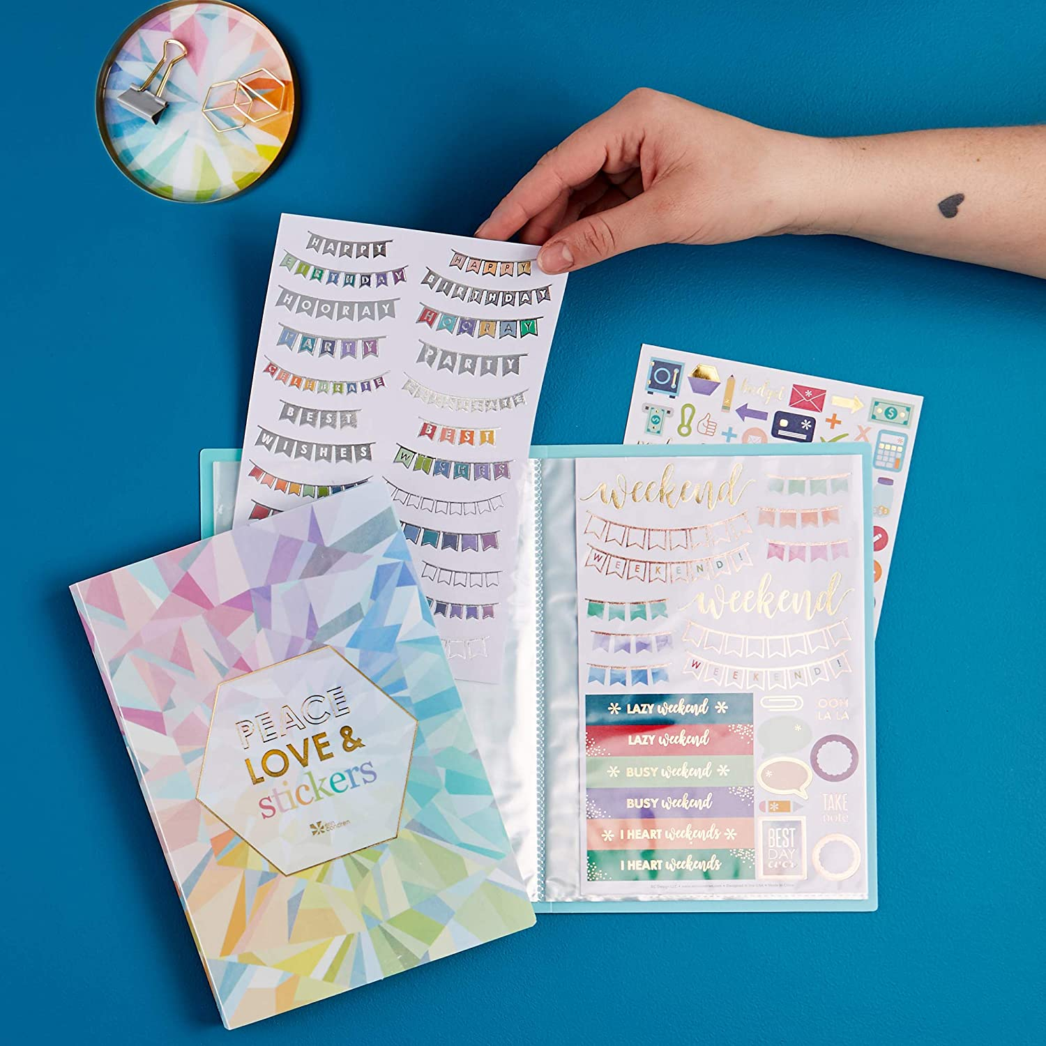 Keeps All of Your Favorite Stickers in One Organized Place Durable Organization 24 Pages Cute Holds 48 Sticker Sheets Pretty Erin Condren Designer Sticker Album