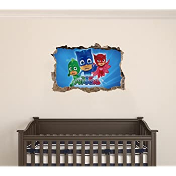PJ Masks Superhero - 3D Smashed Wall Effect - Wall Decal for Home Nursery Decoration (Wide 20