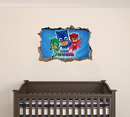 PJ masks superhero - 3D Smashed Wall Effect - Wall Decal For Home Nursery Decoration (